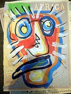 Afrika Löwe Acryl auf Papier Pop Art Direkt vom Künstler