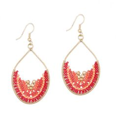 Boucles d'oreilles anneaux perles orange