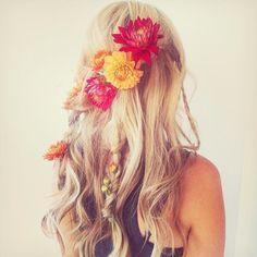 blond, curls, hair, flower, flowers