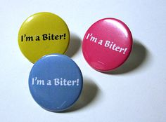 Baby Shower Gift Pinback Button I'm a Biter by BayleafButtons, $1.15