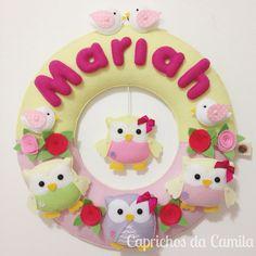 Enfeite de porta maternidade corujinhas e passarinhos em feltro