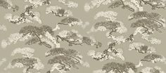 Eastern Pine (BW45035/4) - G P & J Baker Wallpapers - Crisply defined gnarled pine with a layered effect, giving an ethereal cloud-like quality. Shown in ivory/oyster with metallic highlights - more colours are available. Please request a sample for true match.