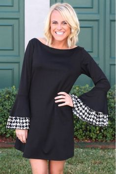 Basically Me #Houndstooth Dress in Black  #NCAA #CollegeFootball  For Great Sports Stories, Funny Audio Podcasts, and Football Rules Tutorial www.RollTideWarEagle.com