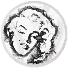 Round Beach Towel - Marilyn Monroe Sketch In Black And White