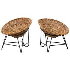 Pair of Jacques Adnet Style Woven Basket Chairs | 1stdibs.com