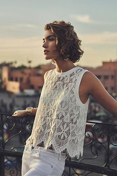 Deletta Scalloped Lace Tank #anthrofave