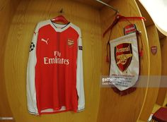 Arsenal pennant and shirt in the changingroom before the UEFA Champions League Round of 16 second leg match between Arsenal FC and FC Bayern Muenchen at Emirates Stadium on March 7, 2017 in London, United Kingdom.