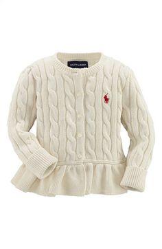 Ralph Lauren Peplum Cardigan (Baby Girls) available at #Nordstrom