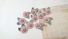 Mini flower appliques, pieces for craft projects, junk journal supplies, 10 pcs Small Flowers, Pink Flowers, Dusty Pink, Pale Pink, Sewing Projects, Craft Projects, Flower Applique, Embroidered Lace, Junk Journal