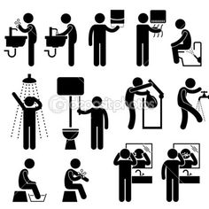 Personal Hygiene Washing Hand Face Shower Bath Brushing Teeth Toilet Bathroom Stick Figure Pictogram Icon