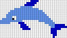 Dolphin Perler Bead Pattern | Bead Sprites | Animals Fuse Bead Patterns