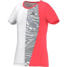 The adidas Girls' Stella McCartney Barricade New York Tennis Tee brings NYC styling to your girl's fashion game! Flash Red and White color blocking with Marble Graphic Print combine to make this a powerful look on court. Covered shoulders and a scoop neckline keep her covered as she dips low to reach every ball.