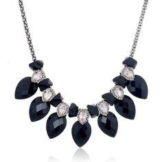 Big Rhinestone Waterdrop Necklace 2015 New Arrive Black Crystal Personality Pendant Necklace For Women Fashion Jewelry Wholesale #jewelrywholesale