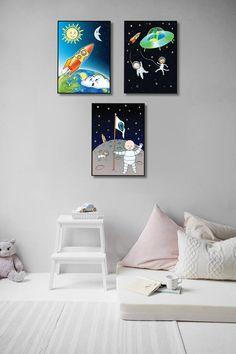 Space Nursery Playroom Wall Decor Set of 3 Prints Astronaut Playroom Wall Decor, Wall Decor Set, Artwork Prints, Canvas Prints, Outer Space Nursery, Ups Store, Home Printers, Photo Center, Astronaut