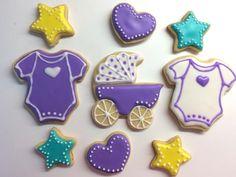 Baby girl shower cookies. Onesie. Heart. Star. Sugar cookie. Royal icing.