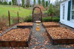 Raised Beds. Top them off with shredded leaves, as above. Give the leaves a light sprinkling of alfalfa meal, cottonseed-meal, or another organic source of nitrogen to help hasten their decay