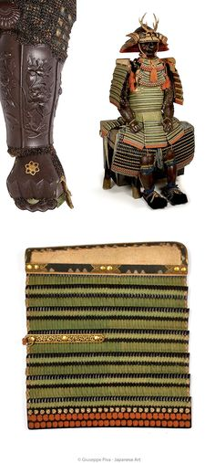 """Hon-kozane nimai-dô gusoku. Mid Edo Period (1615-1867)  Tachi-dô style, black lacquered hon-kozane (true scale) of iron and leather. The kebiki odoshi in pale green silk. The armour is fitted with a """"mutsu karakan ni juni kiku"""" kamon. 32 plate suji-bachi kabuto. The bowl is mounted in gilt copper and shakudô. The menpô is an exceptional work by Myôchin Muneakira, signed and dated 1732."""