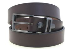 """1 3/8"""" dark brown English Bridle Leather belt with satin black buckle and loop"""