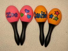 Personalized Party Favors- Neon Maraca Perfect for First Birthday on Etsy, $5.75