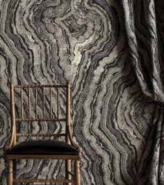 Linen wallcoverings adapted from an original design hand-painted by Gabriel Hendifar.