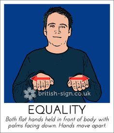 BSL Awareness Week - sign of the day - Equality English Sign Language, Sign Language Phrases, Sign Language Alphabet, British Sign Language, Learn Sign Language, Body Language, Language Dictionary, Learn Bsl, Learn To Sign