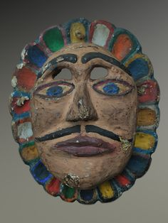 Title: Sun Mask #6064  Circa: 1950/60  Description: Sol (sun) mask from Palin, Escuintla Guatemala.  Used in the Dance of the Fieros.  Materials: Polychromed gravilea wood.  Dimensions: 9 1/2″ length * 8 1/4″ width  Price: $425.00 including shipping