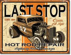 cool old hot rod poster