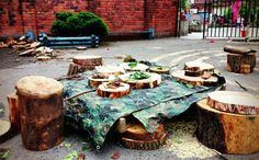"""Loose parts outdoors from Kindling: Playwork, Training, Forest Schools and creative workshops ("""",)"""