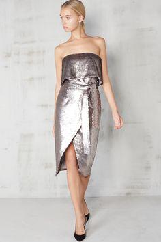 Silver Sequin Bandeau Tie Front Midi Dress - Shop Snob Mode