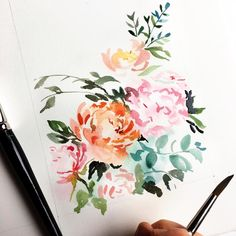 Abstract floral watercolor, by Lemontree Calligraphy and Illustration Watercolor Cards, Abstract Watercolor, Watercolour Painting, Watercolor Flowers, Painting & Drawing, Watercolors, Watercolor Tattoos, Painting Abstract, Calligraphy Watercolor