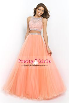 2015 Exceptional A-Line Tulle Prom Dressesbateau Floor Length With Beads Two Pieces $199.49 PGDPEYQ64Z4 - PrettyGirlsDresses.com