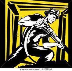 Coal Miner with pneumatic rock drill working inside a mine shaft #coalmining #retro #illustration