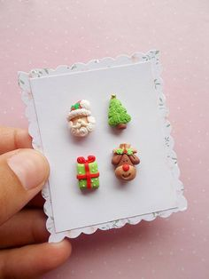 Christmas Earrings Set - Santa Earrings - Novelty Stud Earrings - Rudolph Reindeer - Xmas Earrings - Girls Earrings