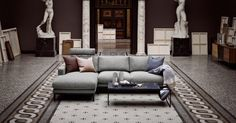 North 3 seater sofa with chaise longue - left Glismand & Rüdiger Nantes - Fabric Light Grey Seater Sofa, Home, Sofa Design, Sofa, Coffee Table Design, Skandi Sofa, Scandinavian Design, Interior Design Blog, Interior Design