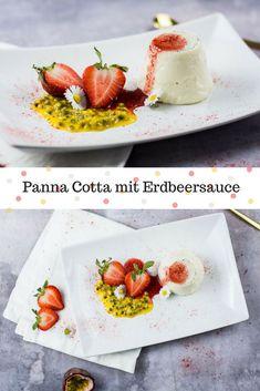 Cremiger Panna Cotta mit echter Vanille, serviert mit leckerer Erdbeersauce und frischer Maracuja. Ein echter Klassiker der italienischen Küche der im Sommer auf keinen Fall fehlen darf.  via @heissehimbeeren