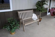 Amish Made Outdoor Poly English Garden Bench Cozy, comfy, eco friendly outdoor seating made just for you. Add cushion, cupholders and throw pillows too. Pick from lots of fun colors. Some assembly required. #outdoorbench #polybench