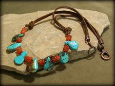 Turquoise Necklace  Beaded Stone Necklace  by StoneWearDesigns, $74.00