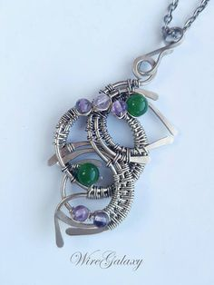 Art Deco Pendant Wire wrap Necklace Gemstone Chrysoprase