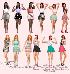 @deetron-sims and @deelitefulsimmer's Devilicious Dress * *Mesh Required. Grab above ^ Custom Thumbnail. 24 Total. 6 Solid Tops/Pattern Bottoms. 6 Mixed Pattern Top/Bottom. 6 Just Pattern. 6 Pattern Tops/Solid Bottoms. Download: Here If you're...