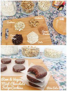 Riia's Raw Vegan Mint Chocolate Fudge Cookies