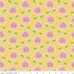 Farm Girl Rose Trellis Yellow Yardage by October Afternoon for Riley Blake…
