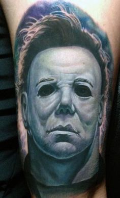 What does michael myers tattoo mean? We have michael myers tattoo ideas, designs, symbolism and we explain the meaning behind the tattoo. Cute Tattoos, New Tattoos, I Tattoo, Awesome Tattoos, Horror Movie Tattoos, Horror Movies, Michael Myers, Micheal Myers Tattoo, Wicked Tattoos