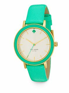 Kate Spade New York Metro Goldtone Stainless Steel Saffiano Leather Strap Watch/Green. Kate Spade Watch, Diamond Are A Girls Best Friend, Look Fashion, Green Fashion, Fashion Accessories, Ladies Accessories, Jewelry Accessories, Nordstrom, Ootd