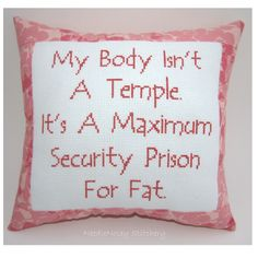 Funny Cross Stitch Pillow, Cross Stitch Quote, Salmon Pink Pillow, Fat Quote. $20.00, via Etsy.