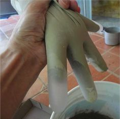 """squeeze fingers of glove to push the air out To get the cement to the bottom of the fingers you have to """"milk"""" the fingers It takes a bit to make sure there are no air pockets. Work fast as the cement starts to set in15 min Fill a total of four gloves this way On the last two, using a scissor,cut a slit along the pinky side, ..."""