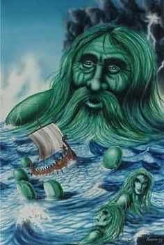 "ÆGIR - (Old Norse ""sea"") is a sea giant, god of the ocean and king of the sea creatures in Norse mythology. He is also known for hosting elaborate parties for the gods."