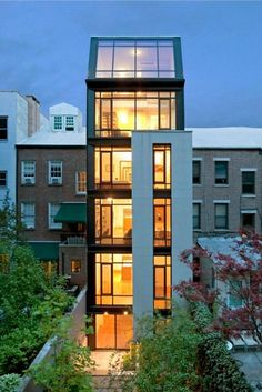 Tall and narrow townhouse by Calvert Wright Architecture.
