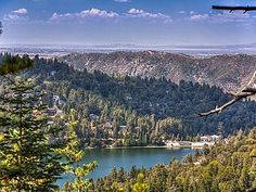 Lake Gregory nestled amongst the bountiful trees in Crestline, Ca