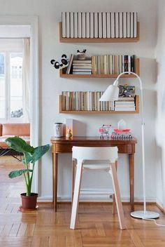 floating shelves over your tiny desk