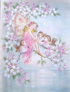 Blossoms and Birds Fairy Pictures, Angel Pictures, Fantasy Kunst, Fantasy Art, Decoupage, Vintage Fairies, Beautiful Fairies, Flower Fairies, Angel Art